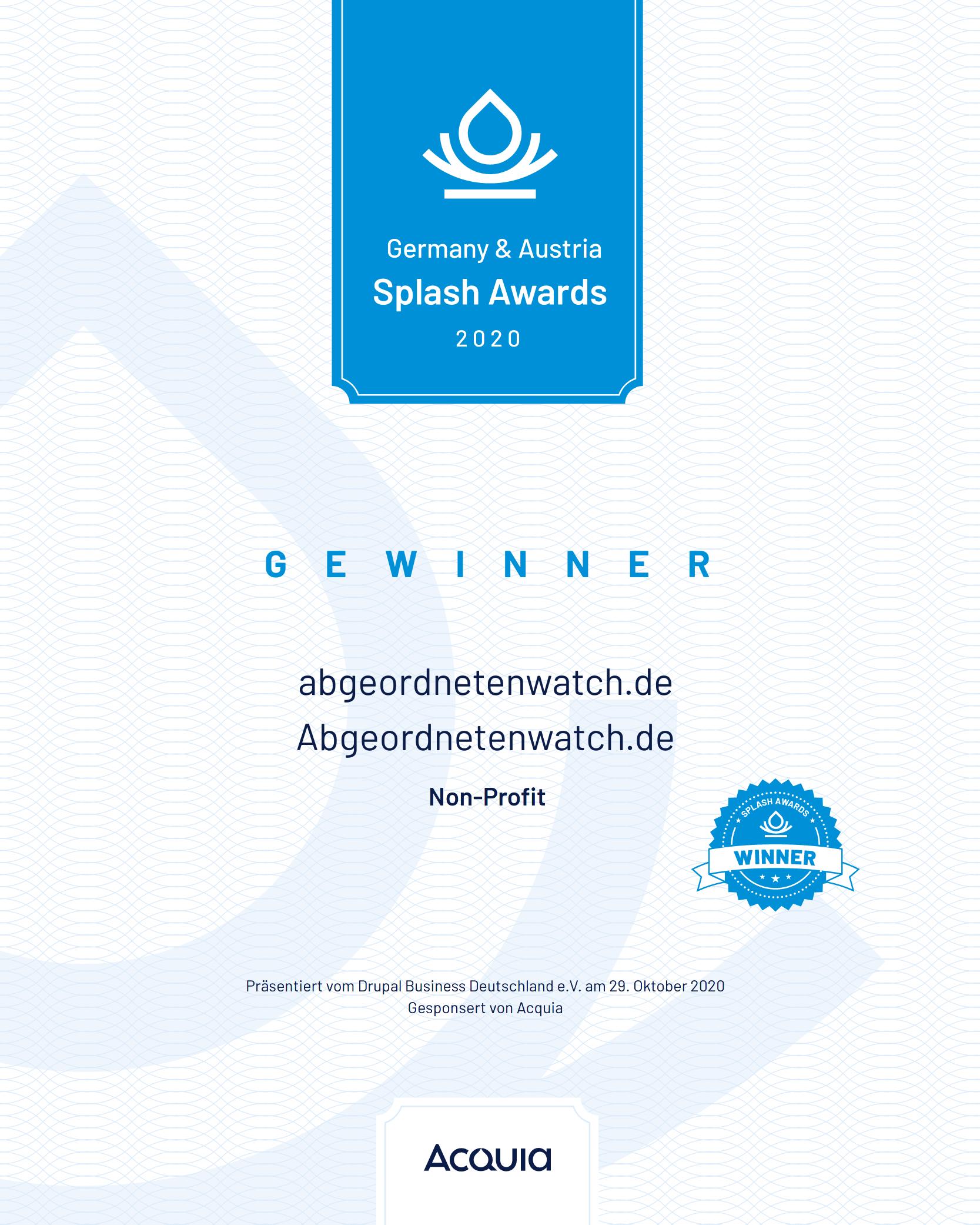 Splash awards certificate