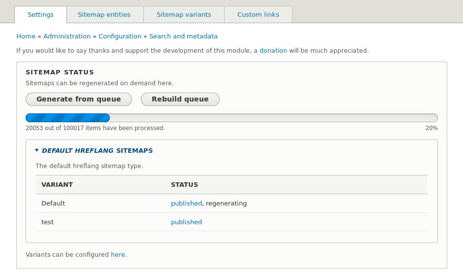 Sitemap status